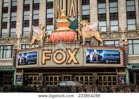 Detroit, Michigan, Usa - March 28, 2018: Exterior Of The Historic Fox Theater In Downtown Detroit. T