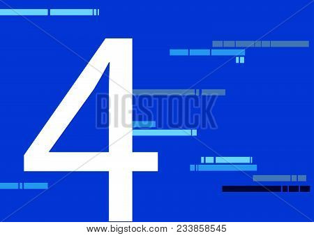 4, Four Number On Flat Blue Color Background With Abstract Lines