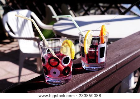 Garden Party With Good Drinks. Coctail Is From Vodka, Strawberry Sirup And So On.