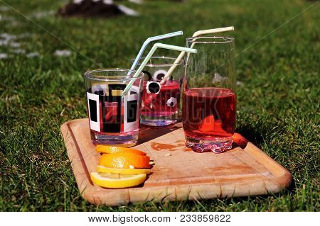 A Few Fruit Drinks On Small Wooden Board On Grass. Tropical And Exotic Juice.