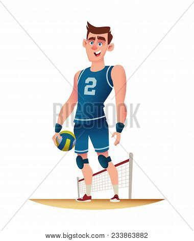 Young Volleyball Player Standing On The Volleyball Playground. Funny Cartoon Character Design. Vecto