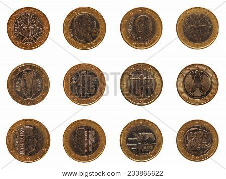 Many 1 Euro Coins Money (eur) From Different Countries, Currency Of European Union