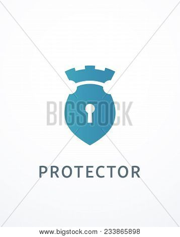 Vector Logo With A Blue Shield And A Keyhole. It Also Has Castle Turrets On Top. Logotype Expressing