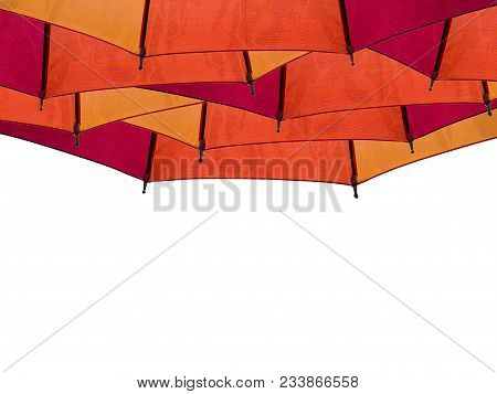 Red Orange Yellow Umbrella Isolated On White Background.