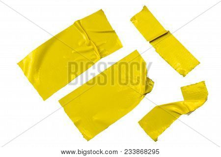 Set Of Yellow Tapes On White Background. Torn Horizontal And Different Size Black Sticky Tape, Adhes