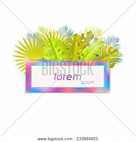 Summer Tropical Design. Jungle Leaves With Holo Frame.