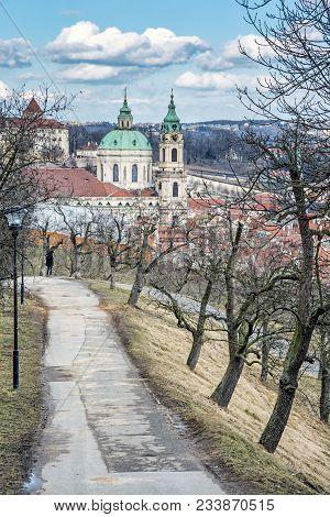 St. Nicholas Church From Petrin Hill, Prague, Czech Republic. Travel Destination. Religious Architec