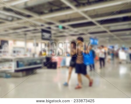 Blur Image Of People Walking In Shopping Center Mall Store.