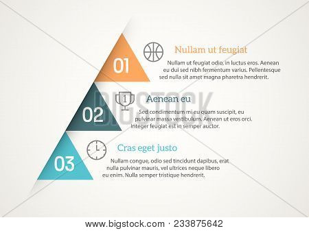 Simple And Minimal Infographic Template With Placeholders For Headers And Text Blocks. Sample Icons,