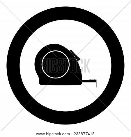 Tape Measure Icon Black Color In Circle Vector Illustration Isolated