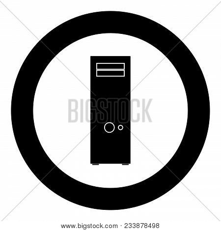Computer Case Or System Unit Icon Black Color In Circle Vector Illustration Isolated