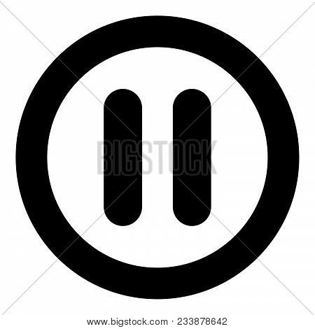 Pause Icon Black Color In Circle Vector Illustration Isolated