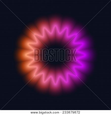 Neon circle. Bright blur halo, cosmic round frame, abstract techno banner, aura, star, glowing ring on black background. Vector illustration poster
