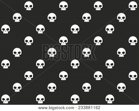 Vector Diagonal Skulls Seamless Pattern. Black And White Texture Making Lines. Simple Cartoon Graphi