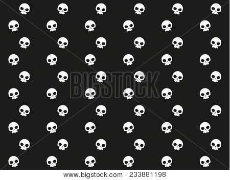 Vector Vertical Lines Pattern With Human Skulls. Simple Dead Head Design. Black And White Seamless.