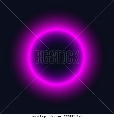 Neon purple circle. Bright blur halo, cosmic round frame, abstract techno banner, aura, star, glowing ring on black background. Vector illustration poster