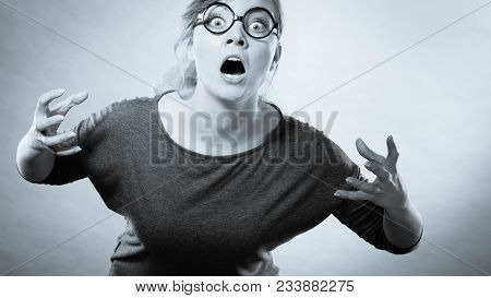 Psychology Frustration Emotions Feelings Concept. Furious Woman Yelling. Nedry Girl Angered Frustrat