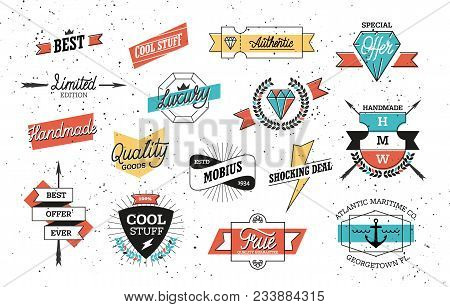 Old Style Vector Badges And Label For Product Advertising. Trendy Vintage Shields And Signs Isolated