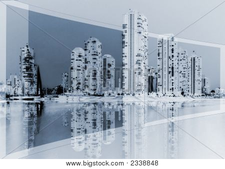 Cityscape On Blue Background