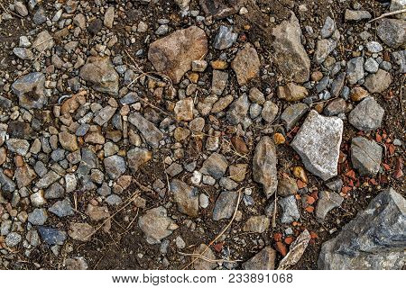 Stones On The Ground. Ground And Stones. Rocky Soil. Rock Background