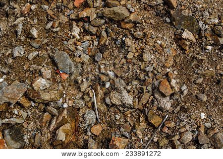 Stones On The Ground. Rock Background. Ground And Stones. Rocky Soil