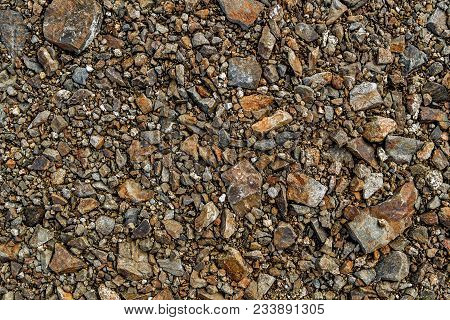 Crushed Stone As Background Or Texture. Crushed Stone Texture Background. Macadam. Stone Texture. St