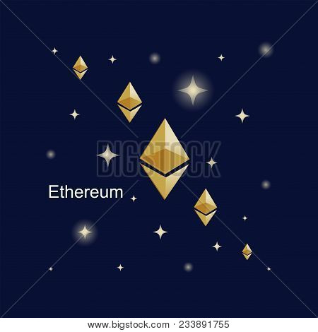 Ethereum. Virtual World Of Digital Currency. Golden Sign Of The Cryptocurrency On A Dark Background.