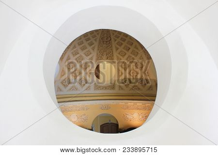 St. Petersburg, Russia - March 5, 2018: Old Building Interior Architecture With Round Glass Window.