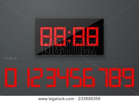 Digital Watch Clock Electronic Isolated Electronic And Set Of Numbers