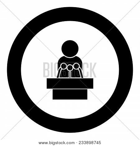 Man Speaking From The Rostrum Icon Black Color In Circle Vector Illustration Isolated