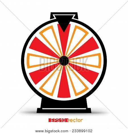Fortune Wheel Lottery Silhouette Icon. Gamble Jackpot Prize Spin Object With Shadow