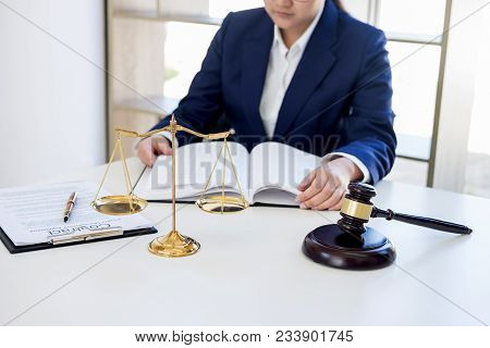 Judge Gavel With Scales Of Justice, Professional Female Lawyers Working Having At Law Firm In Office