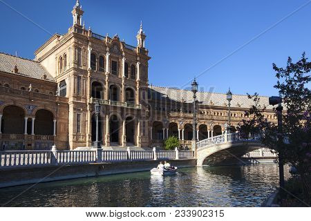 The Plaza De Espana Spain Square Is A Plaza In The Parque De Mara Luisa, In Seville, Spain Built In