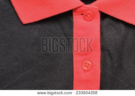 T-shirt Collar Neck Of Red And Black Color. Clothing Design Of Buttoned Simple Casual Shirt With No