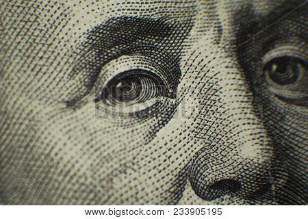 Portrait Of Ben Franklin On The Us $100 Dollar Bill In Macro