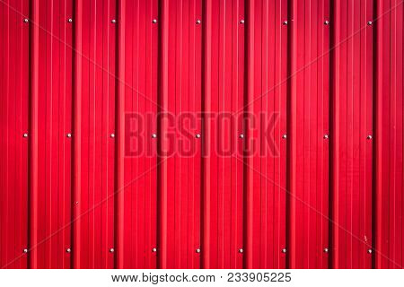 Horizontal Deep Red Corrugated Metal Blank Background Great For Copy Space.