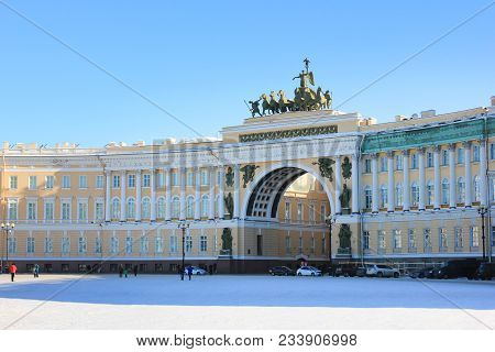 Palace Square General Staff Building Arch In Saint-petersburg, Russia. Historical Architecture Landm