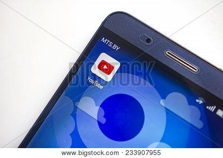Berlin, Germany - November 19, 2017: Icon Youtube App On Screen Modern Smartphone.