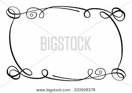 Simple Doodle, Scribble Border, Sketch Rectangular Flourish Vector Frame, Black And White Isolated
