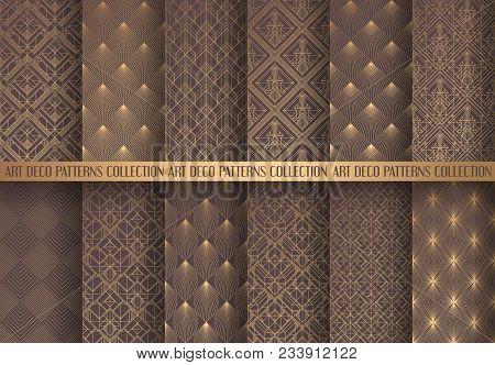 Art Deco Patterns Set. Seamless Golden Backgrounds. Fan Scales Ornaments. Geometric Decorative Digit