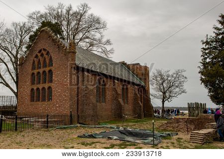 Jamestown, Virginia - March 27, 2018: View Of Jamestown Memorial Church Which Was Constructed In 190