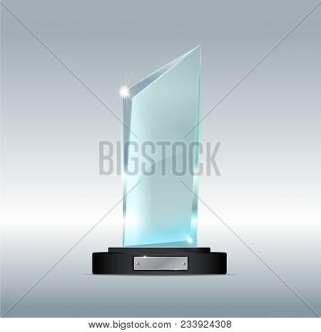 Glass Trophy Award Vector Illustration. Vector Illustration Of Shiny Award. Glossy Transparent Troph