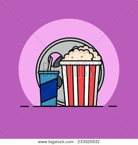 Popcorn, Filmstrip And Soda With Straw. Cinema Icon In Flat Dsign Style. Vector Linear Flat Concept