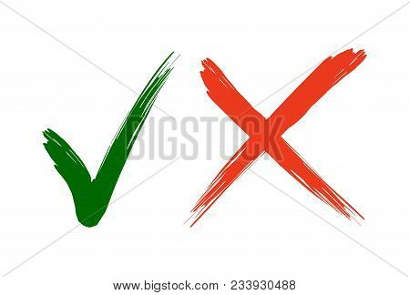 Check Mark Icons. Green Tick And Red Cross Checkmarks In Two Variants. Vector Illustration Isolated