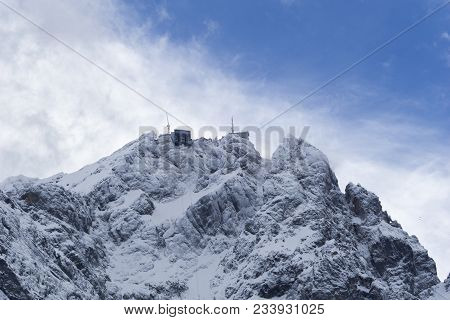 Close-up Of Amazing Snowy Mountains And The Zugspitze In The Bavarian Alps.  View To Beautiful Big M