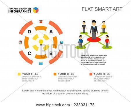 Four Segment Radial Diagram. Process Chart, Editable Template. Creative Concept For Infographics, Pr