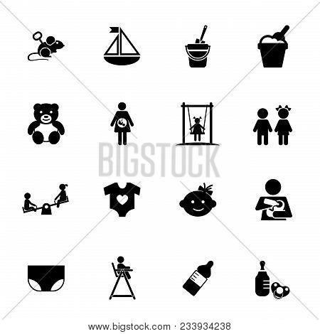 Childhood Icon Set. Can Be Used For Topics Like Kid, Babyhood, Toy, Carefree, Kindergarten