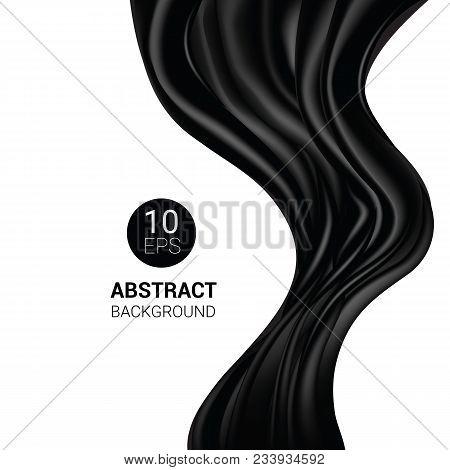 Silk Vector Black Silky Fabric And Elegant Dark Satin Material Illustration Set Of Drapery Texture C