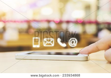 Woman Hand Pushing Button Smartphone, Business Connection Contact Us Concept, Icon Mobile Phone, Ema
