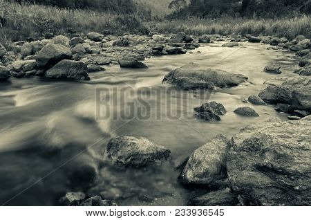 Beautiful Reshi River Water Flowing At Dawn, Sikkim, India. Reshi Is One Of The Most Famous Rivers O